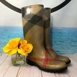 BURBERRY Exploded Check Pattern Rubber Rain Boot